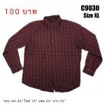 C9030 เสื้อเชิ้ตลายสก๊อตสีแดง