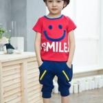 ชุดเด็ก เสื้อรูปยิ้มกางเกงสีกรม ยกแพ็ค 5 ชุด (ราคา 160 บาท/ชุด) ขนาด 100-140