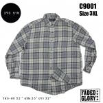 C9001 เสื้อลายสก๊อตผู้ชาย สีเทา ไซส์ใหญ่