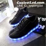 รองเท้ามีไฟ รองเท้า LED สีดำ เปลี่ยนสีได้ 11 สี