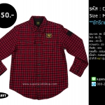 C1810 เสื้อลายสก๊อตสีแดง OLD NAVY แนว Biker