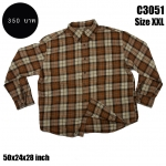 C3051 เสื้อลายสก๊อตผ้าสำลี สีน้ำตาล