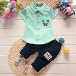 ชุดเด็ก เสื้อคอปกสีเขียวกางเกงกรม ยกแพ็ค 4 ชุด (ราคา 175 บาท/ชุด) ขนาด 80-110