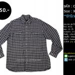C2087 เสื้อลายสก๊อต ผู้ชาย สีม่วงครีม