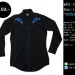 C2304 เสื้อเชิ้ต คาวบอย Vintage Western ผู้ชายสีดำ