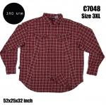 C7048 เสื้อลายสก๊อตสีแดง