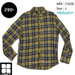 C1426 เสื้อลายสก๊อต ผู้ชายสีเหลือง Insight