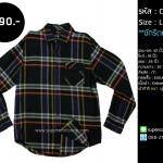 C1703 เสื้อลายสก๊อตผู้ชาย สีดำ