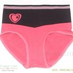 กางเกงในเอวสูง กางเกงในขอบใหญ่ ลายหัวใจ สีชมพูเข้ม