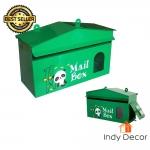 ตู้จดหมาย ตู้รับจดหมาย กล่องใส่จดหมาย ทรงบ้าน ลายหมีแพนด้า (สีเขียว)