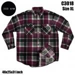 C3018 เสื้อลายสก๊อตผู้ชายสีม่วง-ดำ ไซด์ใหญ่