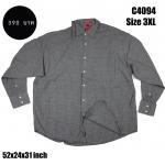 C4094 เสื้อเชิ้ตผู้ชาย ลายสก๊อต สีเทาอ่อนไซส์ใหญ่