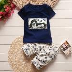 ชุดเด็ก เสื้อสีกรมกางเกงครีม ยกแพ็ค 5 ชุด (ราคา 170 บาท/ชุด) ขนาด 80-120