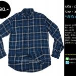 C1752 เสื้อลายสก๊อต ผู้ชาย สีน้ำเงิน
