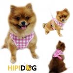 HIPIDOG สายจูงสุนัข เสื้อจูงสุนัข ลายสก๊อตสีชมพู