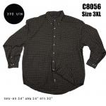 C8056 เสื้อเชิ้ตลายสก๊อต สีน้ำตาลเข้ม ตัวใหญ่