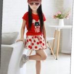 ชุดกระโปรง เสื้อสีแดงกระโปรงสีขาวแดง ยกแพ็ค 5 ชุด (ราคา 190 บาท/ชุด) ขนาด 100-140