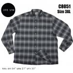 C8051 เสื้อเชิ้ตลายสก๊อต สีเทา ไซส์ใหญ่