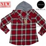 เสื้อคลุมลายสก๊อต ผู้หญิง สีแดง มีฮู้ด