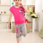 ชุดเด็ก เสื้อสีชมพูกางเกงสีเทา ยกแพ็ค 4 ชุด (ราคา 180 บาท/ชุด) ขนาด 110-140