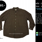 C2005 เสื้อลายสก๊อต ผู้ชาย สีน้ำตาล คนอ้วน