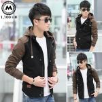 เสื้อแจ๊คเก็ตฮู๊ด J028 สีดำ (สินค้าไต้หวันนำเข้า-พร้อมส่ง)