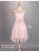 hl2011 ชุดราตรีหน้าสั้นหลังยาว สีชมพู ผ้าลูกไม้พรีเมี่ยมทั้งชุด สวย หรู หวาน น่ารัก