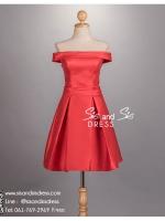 sd1069 ชุดราตรีสั้นหรู เปิดไหล่ สีแดงสด เนื้อผ้ามันเงา ใส่แล้วสวย หวาน หรู ดูดีมากค่ะ