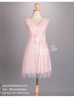 sd1073 ชุดราตรีสั้น สีชมพู คอวีแขนกุด ผ้าลูกไม้พรีเมี่ยมทั้งชุด สวย หวาน หรู น่ารัก