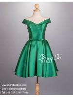ชุดราตรีสั้น รหัสชุด SD102 ชุดไปงานแต่งงาน สีเขียว เดรสออกงาน แขนกุด สวยหรู น่ารักมาก ใส่ไปงานแต่งงาน งานปาร์ตี้ งานรับปริญญา งานรับรางวัล หรือ ชุดเพื่อนเจ้าสาว