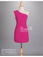 sd1059 ชุดราตรีสั้น เข้ารูป จับเดรปทั้งชุด สีชมพูบานเย็น สวยหรูดูดีแบบมีคลาส