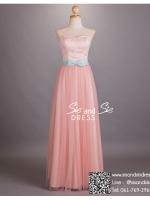 ld3012 ชุดราตรียาว เกาะอก สีชมพูพาสเทล ช่วงอกผ้าลูกไม้สีขาว ต่อกระโปรงผ้าโปรงพรีเมี่ยม สวย หวาน หรู