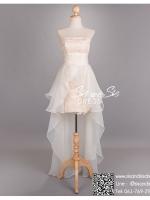 hl2000 ชุดไปงานแต่งงาน สีแชมเปญ เดรสเกาะอกผ้าลูกไม้พรีเมี่ยม กระโปรงผ้าแก้ว สวย เฉี่ยว ใส่ออกงานกลางวัน หรือ กลางคืน น่ารักมาก