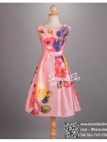 sd1039 ชุดไปงานแต่งงานวินเทจ สีชมพู เดรสลายดอกไม้ ใส่ไปงานแต่งงานกลางวัน หรือ กลางคืน ซิปหลัง