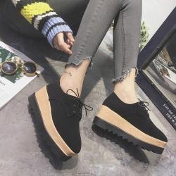 [มี2สี] รองเท้าผู้หญิงส้นตึก หุ้มส้น แฟชั่นหนังนิ่ม ผูกเชือก ทรงสวยสไตล์เกาหลี ส้นสูง 3 นิ้ว (7ซม.)