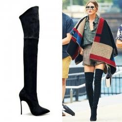 [มีหลายสี] รองเท้าบูทยาวผู้หญิงส้นสูงเหนือเข่า หัวแหลม งานหนัง pu นิ่ม สวยเซ็กซี่ แฟชั่นสไตล์ยุโรป ส้นสูง 4.5 นิ้ว