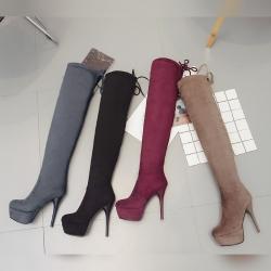 [มีหลายสี] รองเท้าบูทยาวผู้หญิงส้นสูง งานหนังนิ่ม ซิปด้านใน ผูกเชือกด้านหลัง ทรงสวย ส้นสูง 5 นิ้ว / เสริมหน้า 21 นิ้ว