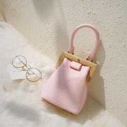 กระเป๋าถือนำเข้า สไตล์เกาหลี แฟชั่นหนัง pu สีชมพู ไซส์มินิ ดีไซน์สวย แฟชั่นสาวหวาน