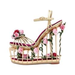 [มี2สี] รองเท้าส้นตึก หัวปลา ทรงกรงตารางเก๋ๆ ประดับดอกกุหลาบสวยๆ แฟชั่นหนังแท้ คุณภาพสูง โลหะแข็งทนทาน แต่น้ำหนักเบา พื้นรองเท้ากำมะหยี่นุ่มๆ ใส่สบาย สวยหรู สไตล์เจ้าหญิง ส้นสูง 7 นิ้ว