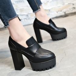 รองเท้าบูทสั้นผู้หญิงส้นสูง หนัง pu สีดำ แฟชั่นสไตล์อังกฤษทรงย้อนยุค ส้นสูง 4.5 นิ้ว