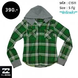 C1511 เสื้อคลุมลายสก๊อต ผู้หญิง สีเขียว มีฮู้ด Billabong