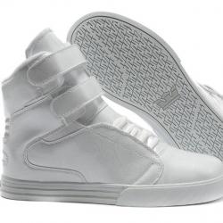 รองเท้าผ้าใบหุ้มข้อ วัสดุหนังแท้ ทรงฮิปฮอป สีขาว ผูกเชือก สายคาดหน้า 2 เส้นติดเทป สวย เท่ แฟชั่นสไตล์เกาหลี