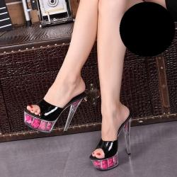 [มีหลายสี] รองเท้าหัวปลา ส้นสูง ใส่ออกงาน รองเท้าเจ้าสาว ส้นแก้วคริสตัล แบบสวม พื้นรองเท้าแต่งดอกกุหลาบ สวยหวาน แพลตฟอร์มสูง 2 นิ้ว ส้นสูง 6 นิ้ว