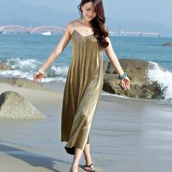 เดรสยาวชายหาด สายเดี่ยว สีทอง ทรงหลวม สวยหวาน เซ็กซี่ ดูแพง สไตล์โบฮีเมียน