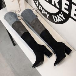 [มีหลายสี] รองเท้าบูทยาวผู้หญิงส้นสูง วัสดุหนังpuนิ่ม+ผ้ายืด ผูกเชืออกด้านหลัง ส้นสูง 3 นิ้ว บูทยาว 22 นิ้ว