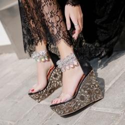 [มี2สี] รองเท้าส้นเตารีด หัวปลา คาดพลาสติกใส ส้นปักเลื่อม แต่งสร้อยเพชรบริเวณข้อ ซิปหลังใส่ง่าย ใส่ออกงาน สวยโดดเด่น ส้นสูง 4 นิ้ว