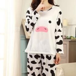 ชุดนอนแขนยาวลายวัว-หน้าวัว