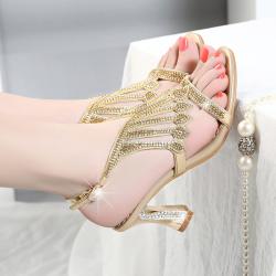 [มีหลายสี] รองเท้าหัวปลาส้นสูงใส่ออกงาน แฟชั่นหนังแท้ แต่งหัวเข็มขัดรัดข้อ ประดับคริสตัลสวยหรู ส้นสูง 3 นิ้ว