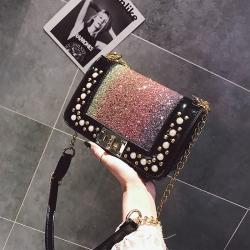 [มีหลายสี] กระเป๋าสะพายแฟชั่น ประดับมุก ตกแต่งกลิตเตอร์