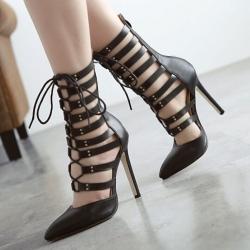 รองเท้าส้นสูงแฟชั่นหนัง pu หัวแหลม สีดำ ทรงสานหุ้มข้อ ซิปด้านหลัง เซ็กซี่ไนท์คลับ ส้นสูง 4.5 นิ้ว